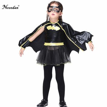 Fantasia Halloween Costume For Kids Girls Baby Batman Cosplay Costume Fancy Dress Suit With Mask And Cape