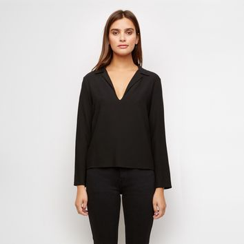 Crepe Lapel Shirt - Black