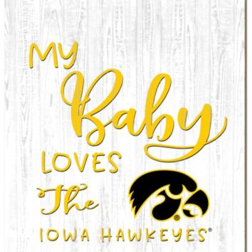 Iowa Hawkeyes | My Baby Loves | Sign | Wood | Rope Hanger | NCAA