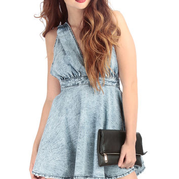 Denim Open Back Bodice A Line Dress