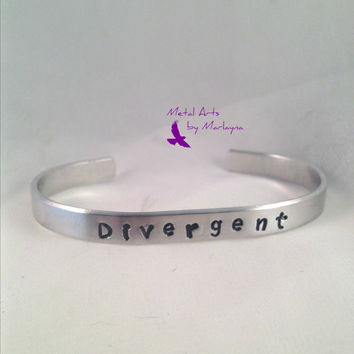 "Stackable Hand Stamped Bracelet ""Divergent"" Divergent Inspired Hand Stamped Cuff Hand Stamped Jewelry Personalized Christmas Gift"