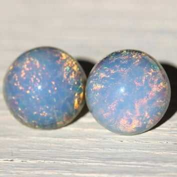 Opal Studs : Ocean View. Blue, Pink and Yellow Glass Opal Dome Stud Earrings, Sterling Silver Posts, Fake Plugs