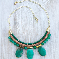 JeansLover Statement Green Grass Agate Necklace by Pardes