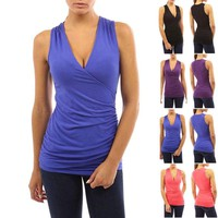 Womens V-neck Ruched Tank Top Blouse Shirt Summer Evening Party Clubbing Tops