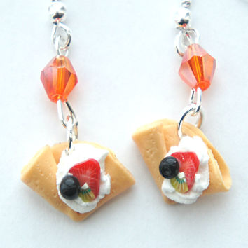 fruit crepe dangle earrings