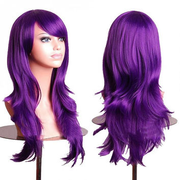 Purple Anime Wig Cosplay Curly Wig Body Wave  Wig