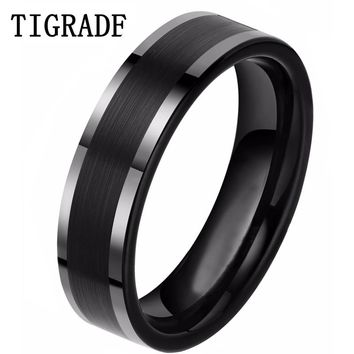 6mm Black Tungsten Carbide Ring Carbon Fiber Engagement Wedding Band Women Men Jewelry Deliver to USA Warehouse Fast Shipping
