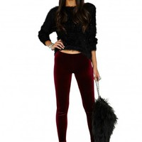 Missguided - Saffiya Velvet Leggings In Burgundy