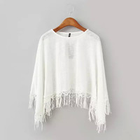 Fringe Embroidery Tassel Hem Loose Style Sheer Knit White Tee Shirt Blouse Top