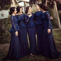 Custom Made Navy Blue Lace Bridesmaid Dresses 2016 Sale Long Sleeve Chiffon For Garden Wedding Cheap Mermaid Adult Brides Maid