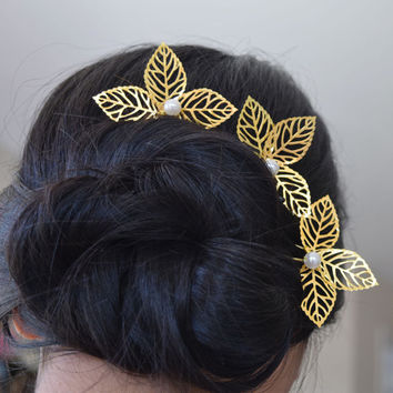 Wedding Headpiece, Bridal Pearl Hair Pin, Golden Leaves with Pearl Eztuna Hairpin, Set of 3