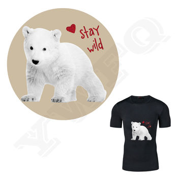 Pyrograph 18*17cm Flashing White Bear Thermal Transfer Ironing Stickers Iron On Patches For Clothes Washable Appliques