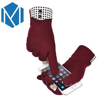 2017 Women Touch Screen Gloves Pu Black and White Grid Gloves Winter Warm Mittens Soft Smartphone Wrist Gloves For Mobile Phone