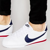 Nike Cortez Leather Trainers In White 749571-146 at asos.com