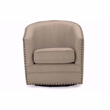 Porter Modern and Classic Retro Beige Fabric Upholstered Swivel Tub Chair By Baxton Studio