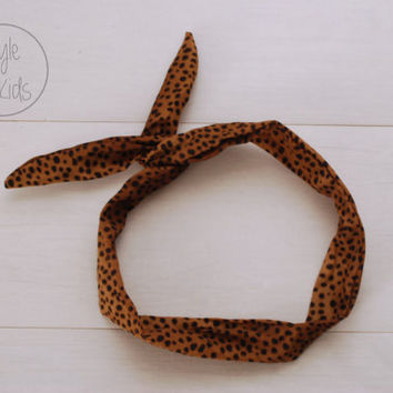 SAFARI Print Wire Headband Tiger Print Bow Headband Toddler Headband Adult Rockabilly Headband Retro Tie UP Headband Mommy and Me headband