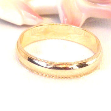 Vintage 14K Ribbed Edge Wedding Band/ Yellow Gold