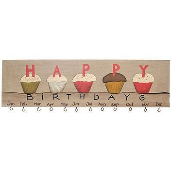Cupcake Birthday Hanging Wall Calendar with round hanging discs for dates & names