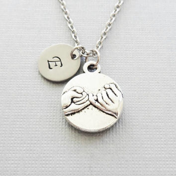 Pinky Promise Necklace, Best Friends Jewelry, Pinky Swear, BFF, Friend Gift, Silver Initial, Personalized, Monogram, Hand Stamped Letter