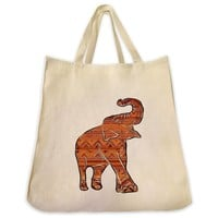 Asian Elephant Full Body Aztec Pattern Design Extra Large Eco Friendly Reusable Cotton Canvas Tote Bag