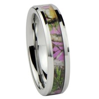 Women's Camo Hunting Camouflage Wedding Band Pink/Rose/Green 6mm Tungsten Carbide (6.5)