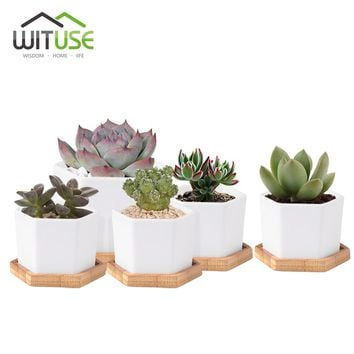 WITUSE 4x Cute Flower Pots Container Glazed White Ceramic Mini Flowerpot Porcelain Plants Pots for Succulent plants +Saucer S+L