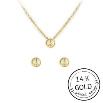 For Peace Sake Necklace and Earring Set by Kitsch {Gold}
