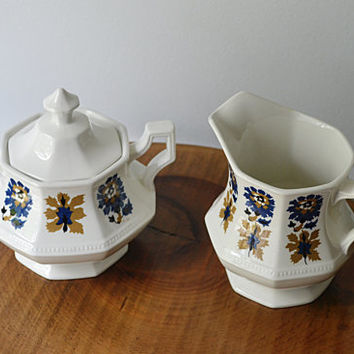 Johnson Bros., Cream And Sugar Set, Jacobean Pattern