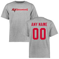 Men's Tampa Bay Buccaneers Ash Custom Name & Number Wordmark T-Shirt