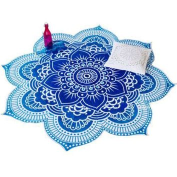 CREYU3C 4 Styles Lotus Flower Indian Mandala Tapestry Decorative Wall Hanging Blanket Boho Beach Throw Towel Hippie Yoga Mat Bedspread