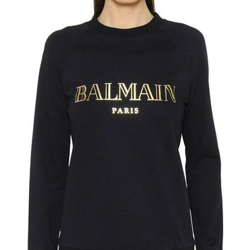 BALMAIN PARIS Fashion Trending Women Men Hot Long Sleeve Sweater Black G-KWKWM
