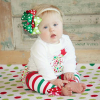 Christmas Princess First Birthday Ruffled Bottom Bodysuit with Leg Warmers and Layered Birthday Bow-Christmas Birthday Set