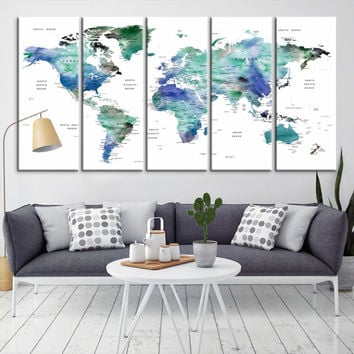 59068 - Large Wall Art World Map Canvas Print- Custom World Map Push Pin Wall Art- Custom World Map Canvas Poster Print- Personalized Wall Art