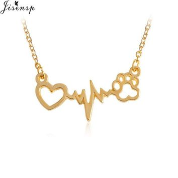 Jisensp Drop Shipping Lovely Animal Vintage Jewelry Love Cats and Dogs Paws and Heart Heartbeat Necklace Paw necklaces & pendant