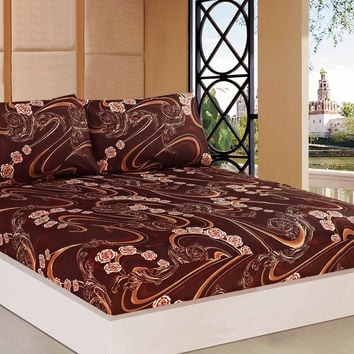 Tache 2-3 PC Melted Gold Brown Rose Pink Floral Fitted Sheet Set