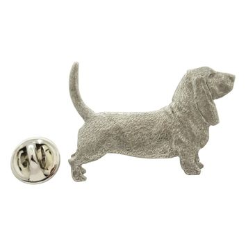 Basset Hound Pin ~ Antiqued Pewter ~ Lapel Pin