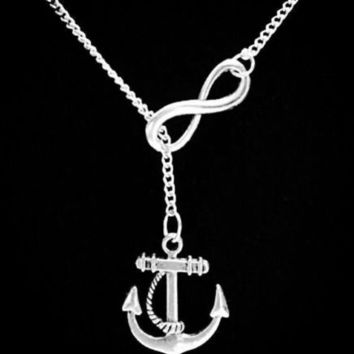 Infinity Anchor Of Hope Refuse To Sink Faith Nautical Gift Lariat Necklace