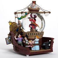Fantasies Come True - Disney collectibles and memorabilia - Peter Pan pirate ship musical snowglobe - Captain Hook John Darling Michael Darling Mr. Smee Peter Pan Tinker Bell Wendy Darling