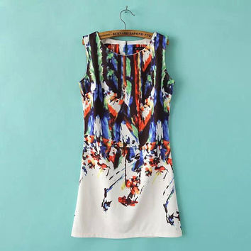 Summer Women's Fashion Print Sleeveless One Piece Dress [4917803460]