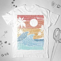 Tropical Palm Trees Beach Graphic Vintage T-Shirt Shirt Top Tee