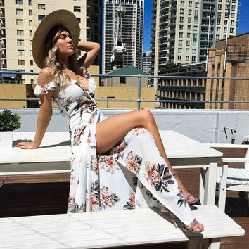 Fashion Flower Print Sleeveless Deep V Frills Strap Backless Split Hem Chiffon Maxi Dress