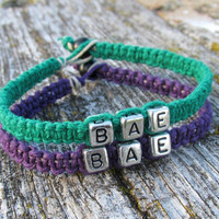 Bracelets for Couples, BAE, Set of Two, Dark Green and Royal Purple Hemp Jewelry