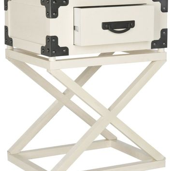 Dunstan Accent Table With Storage Drawer White