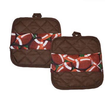 Football Pot Holders, Set of 2, Gift for Him, Kitchen Accessory, Sports Decor, Father's Day, Chef Gift, Hostess Gift, Kitchen Decor, Brown