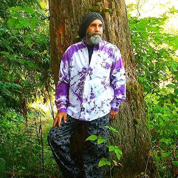Shirt Oxford Style Button Up Tie Dye OOAK Purple 100% Cotton UNISEX Medium Weight Long Sleeved
