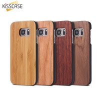 KISSCASE For Samsung Galaxy S8 Plus Real Wooden Case For Samsung S8 Galaxy S7 S6 Edge Back Cover Wood Bamboo Phone Accessories