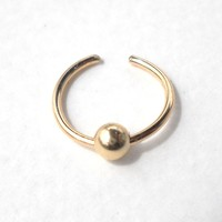 Non Pierced 14K Gold Filled Ear Cuff or Fake Nose Ring G20 - 10mm Fake piercing ring,cartilage,helix,tragus,ear hoop