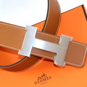 HERMES 100% Authentic REVERSIBLE Belt Kit CONSTANCE 2 BUCKLE ETAIN/GOLD Sz 85