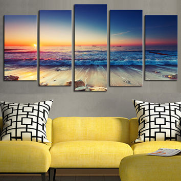 5 panels(No Frame)The Seaview Modern Home Wall Decor Painting Canvas Art HD Print Painting Canvas Wall Picture For Home Decor