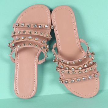 Liliana Strappy Studs And Jewels Slide Sandal